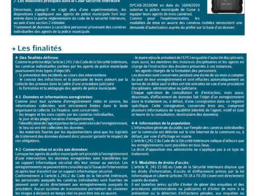 Informations caméras individuelles – Police Municipale