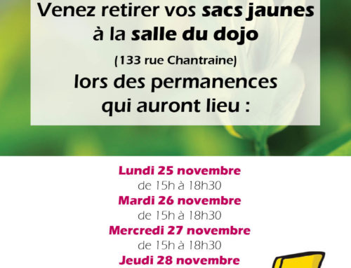 Distribution de sacs jaunes