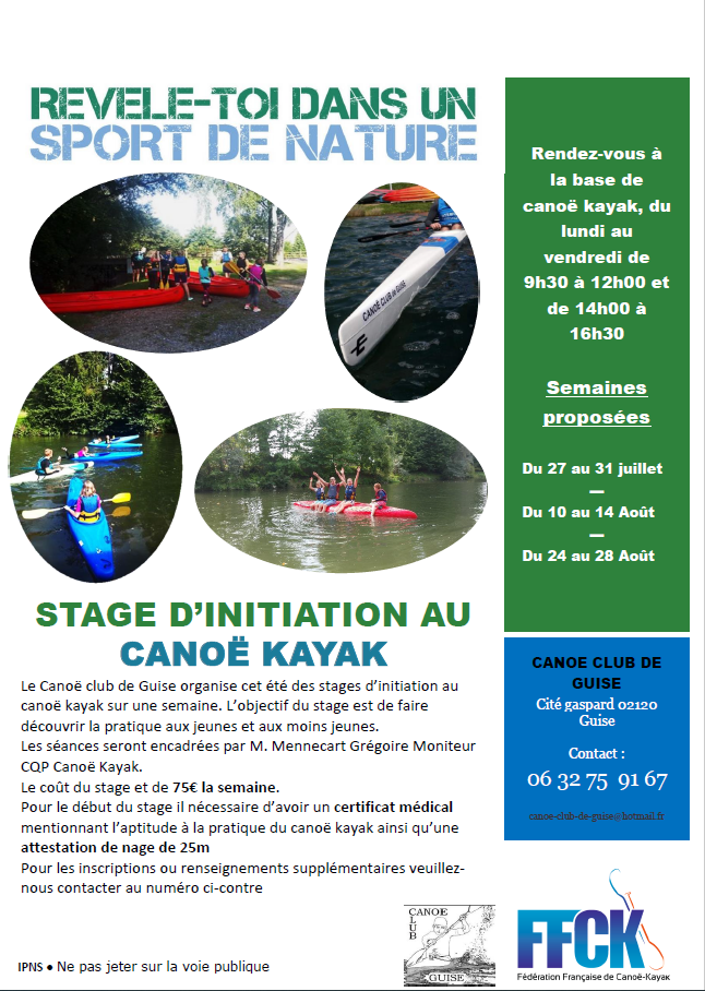 Stage d'initiation canoë kayak