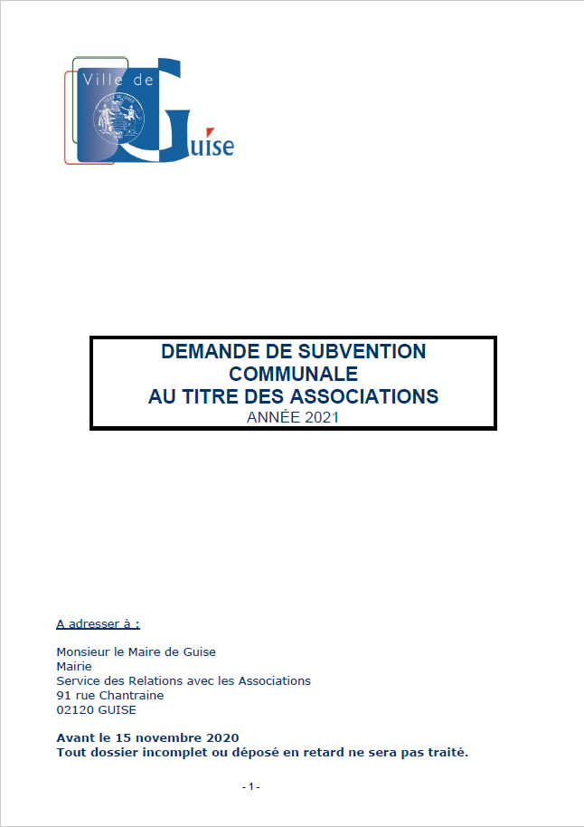 Associations : Dossier demande subvention 2021